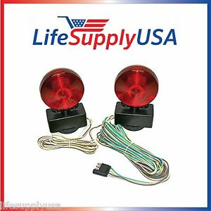 12v 12 Volt Magnetic Towing Tow Light Kit Trailer Rv Dolly Tail Towed Car Boat