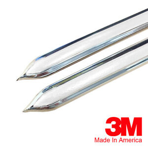 Vintage Style 7 8 White Chrome Side Body Trim Molding Formed Pointed Ends