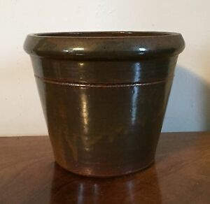 Antique 19th Century American Primitive Redware Pottery Flower Pot Cachepot Vase
