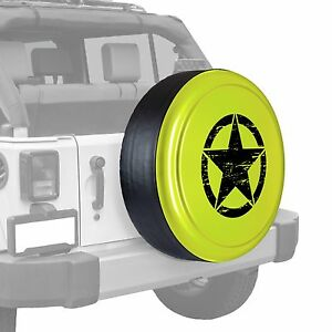 Oscar Mike Star Painted Tire Cover Fits Jeep Wrangler Hyper Green