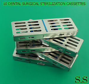 10 Dental Surgical Sterilization Cassettes Rack Box For 5 Instruments