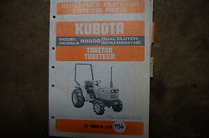 Kubota B9200 Dual Clutch Tractor Parts Manual Book Catalog List Spare Farm 1986