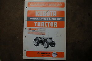 Kubota M4050 Dt Tractor Parts Manual Book Catalog List Spare Farm 1982 Factory