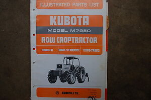Kubota M7950 Row Crop Tractor Parts Manual Book Catalog List Spare Farm 1986 Oem