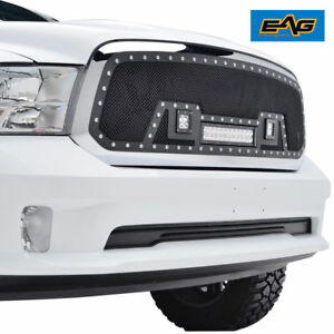 2013 2018 Dodge Ram 1500 Grille Rivet Black Ss Wire Cutout Mesh W 3 Led Lights