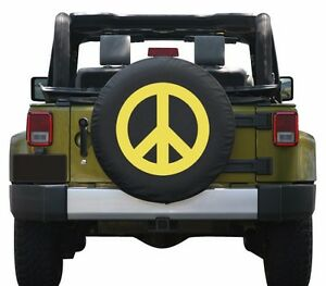 35 Peace Sign Tire Cover Yellow Made In The Usa