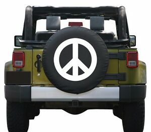 35 Peace Sign Tire Cover White Made In The Usa