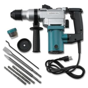 New 1 Electric Rotary Roto Hammer Drill Sds Concrete Chisel Kit W Bits New
