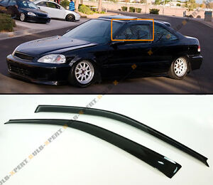 For 1996 2000 Honda Civic Coupe Hatchback Smoke Tinted Window Visor Rain Guard