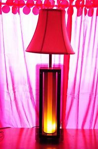 Original Teak Lucite Table Lamp Mid Century Modern Atomic With Inner Base Light