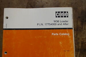 Case W36 Front End Wheel Loader Parts Manual Book Catalog List Spare Rubber Tire