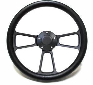 Hot Rod Black Billet Steering Wheel For Chevy Ford Mopar 5 Hole Forever Sharp