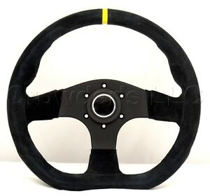Sport Line Racing Steering Wheel 330mm Runner Black Suede Yellow Stripe 20126 s
