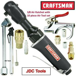 Craftsman 3 8 Drive Air Ratchet Wrench 45 Ft Lbs W 10 Pc Air Tool Accessory Set