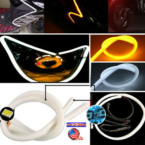 2x18 Switchback Led Tube Strip Drl Daytime Run Light White Amber For Audi Style