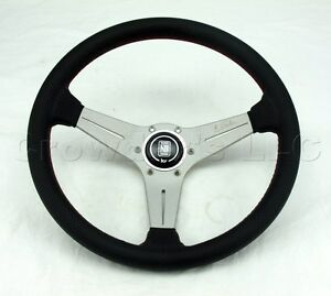 Nardi 350mm Deep Dish Corn Steering Wheel Black Perf Leather White Classic Horn