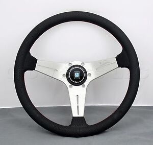 Nardi 350mm Deep Dish Corn Steering Wheel Black Perf Leather White Type A Horn