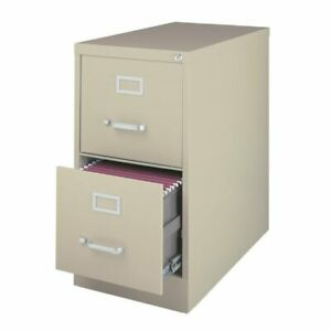 Hirsh 25 In Deep 2 Drawer Vertical Letter File Cabinet In Putty