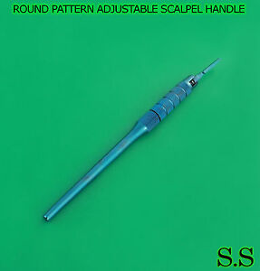 Round Pattern Adjustable 7 Ways Scalpel Handle 3 Blue Coated Surgical Dental