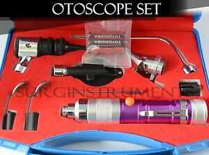 Otoscope Ophthalmoscope Purple 11 Piece Ent Medical Diagnostic Set
