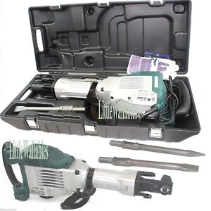 Demolition Jack Hammer 1800w Electric Concrete Breaker Punch 2 Chisel Bit Set