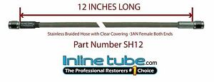 Stainless Steel Braided Brake Hose Line 3an Straight 12 Long Clear Coat Cover