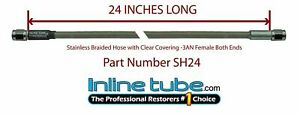 Stainless Steel Braided Brake Hose Line 3an Straight 24 Long Clear Coat Cover