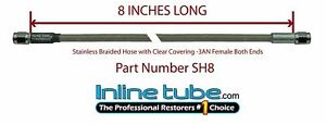 Stainless Steel Braided Brake Hose Line 3an Straight 8 Long Clear Coated Cover