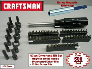 Craftsman 63 Pc Nut Driver Hex Bit Set With 43373 Magnetic Handle