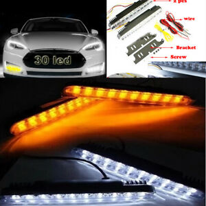 2x 12v 30led Car Daytime Running Light Drl Daylight Lamp With Turn Signal Us