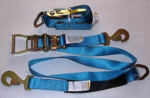 2x two Sets Axle Straps Car Carrier Tie Down Towing Tow Hauler Trailer Blue