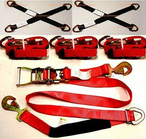 4x Sets Axle Straps Car Hauler Trailer Auto Tie Down Ratchet Tow Quality Kit Red