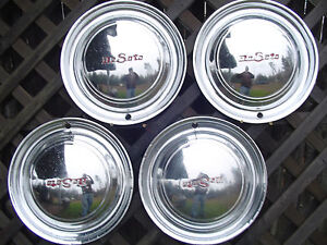 1949 1950 Desoto Sportsmam Custom Deluxe Sedan Club Coupe Hubcaps Wheel Covers