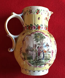 Antique 18th Century Worcester Porcelain Cabbage Leaf Pitcher Jug Mask 1765