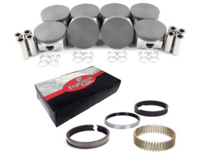 Coated Skirt Flat Top Pistons W Moly Rings For 2005 2009 Chevrolet 5 3l