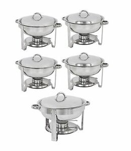 5 pack Round Chafing Dish Buffet Chafer Warmer Set W lid 5 Quart stainless Steel