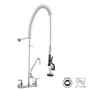 Commercial Pre rinse Sink Faucet Kitchen 12 Add on Mixer Tap Pull Down Sprayer