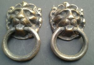 2 Vintage Antique Brass Lion Head Pulls Or Knockers 1 1 2 Wide X 2 5 8 Tall H13