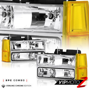 8pc Combo 1994 1998 Gmc Yukon Sierra 1500 2500 Chrome Signal Headlights Lamps
