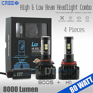 9005 H11 Combo 160w 16000lm Cree Led Headlight Kit High Low Beam Light Bulbs