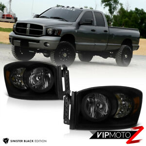 06 09 Dodge Ram 1500 2500 3500 sinister Black Smoke Headlight Driving Lamp L r
