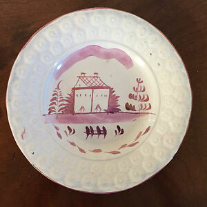 Antique 19th Century Staffordshire Pearlware Pink Lustre Plate Lustre