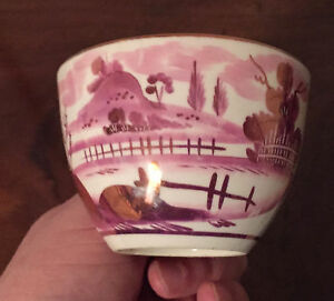 Antique 19th C Staffordshire Pearlware Pink Luster Landscape Tea Cup Lustre