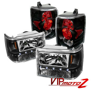 For 93 98 Jeep Grand Cherokee Black Led Headlight Altezza Tail Lamp Brake Light