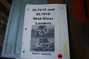 Gehl Sl7610 Sl7810 Mini Skid Steer Loader Parts Manual Book Catalog List Spare