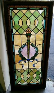 Antique Vintage Stained Glass Window Over 100 Years Old