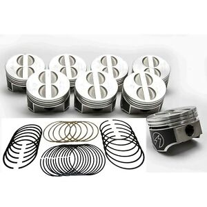 Speed Pro Chevy 350 5 7 Forged Flat Top Coated Pistons ductile Race Rings Std
