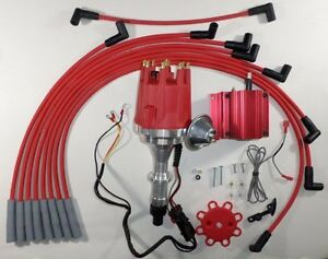 Small Cap Pontiac 389 400 455 Pro Series Red Hei Distributor Coil Plug Wires