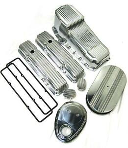 1958 1979 Small Block Chevy 283 350 Tall Polished Finned Engine Dress Up Kit Sbc