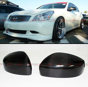 Pair Carbon Fiber Direct Add on Mirror Cover For 09 15 Infiniti G25 G37 Q40 Q60